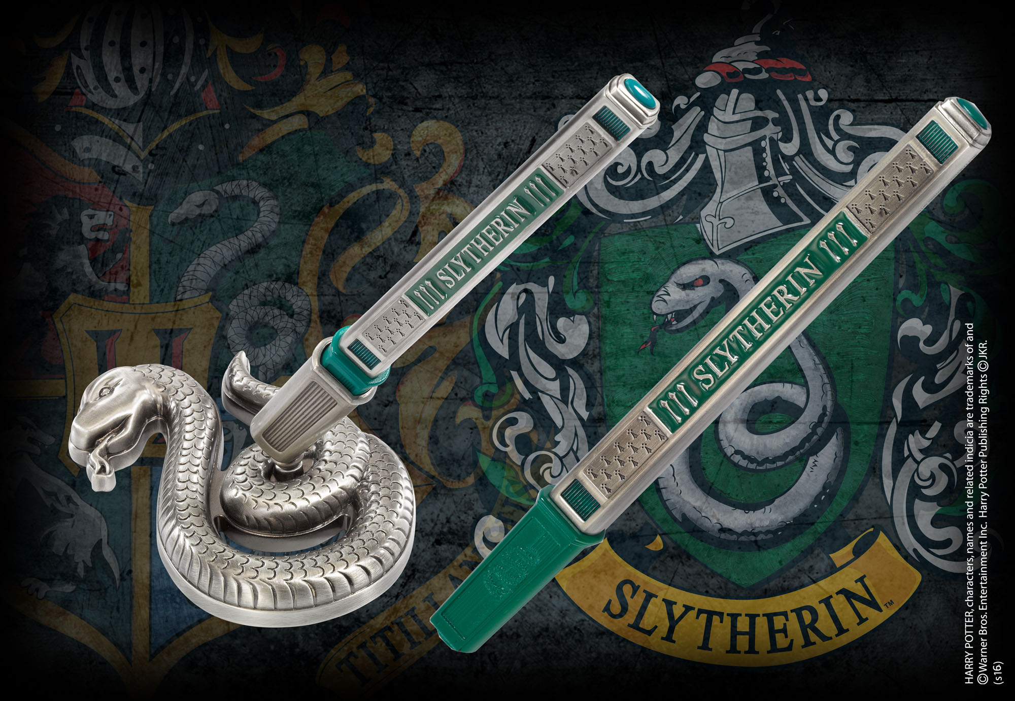 The Noble Collection Slytherin House Pen and Desk Stand