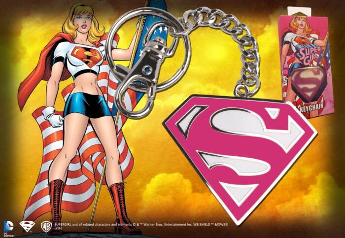 Supergirl Pink Logo Keychain